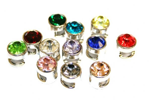 9mm Rhodium plated sliding bead with rhinestone